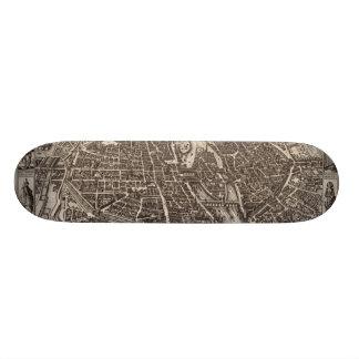 Karta 1618 av Paris av Claes Jansz. Visscher Skateboard Bräda 20 Cm