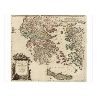 Karta 1752 av forntida Grekland Vykort