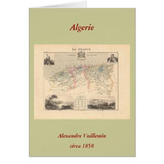 Karta 1858 av den Algerie avdelningen, frankrike - Hälsningskort