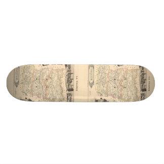 Karta 1858 av den Mayenne avdelningen, frankrike Mini Skateboard Bräda 18,7 Cm