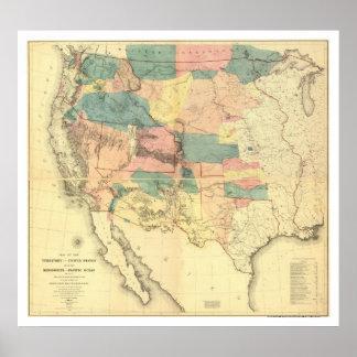 Karta 1858 för US-järnväggranskning Poster