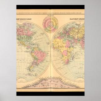 Karta 2 för gammal värld poster