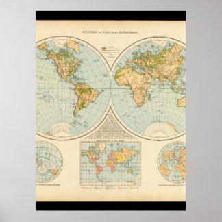 Karta 32 för gammal värld poster