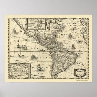 Karta av Americasna vid Hondio 1640 Poster