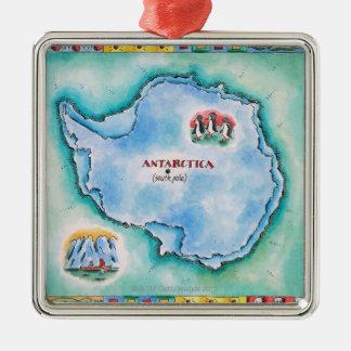 Karta av Antarktis Julgransprydnad Metall