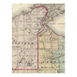 Karta av Ashland och Bayfield län Vykort