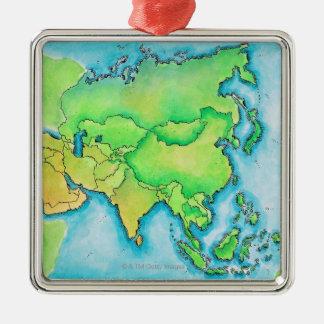 Karta av Asien Julgransprydnad Metall