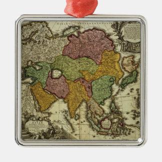 Karta av Asien, Nuremberg, c.1730 Julgransprydnad Metall