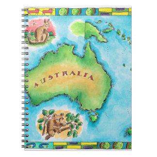 Karta av Australien Anteckningsbok
