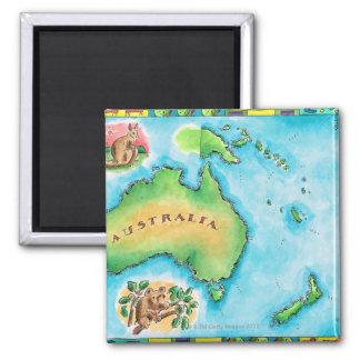 Karta av Australien Magnet