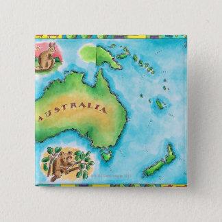 Karta av Australien Standard Kanpp Fyrkantig 5.1 Cm