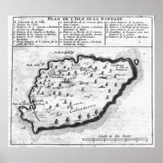 Karta av Barbados Poster
