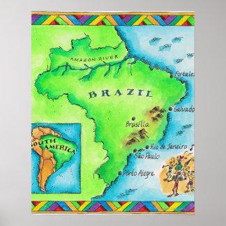 Karta av Brasilien Poster