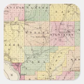 Karta av Buffalo County och byn av Alma Fyrkantigt Klistermärke