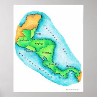 Karta av Central America Poster