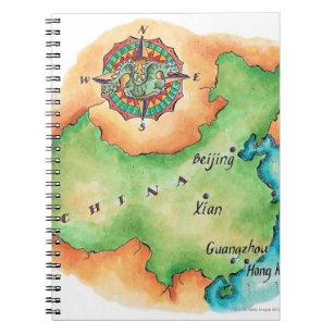 Karta av chinan anteckningsbok