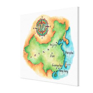 Karta av chinan canvastryck