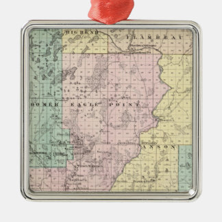 Karta av Chippewa County den sydliga delen Julgransprydnad Metall
