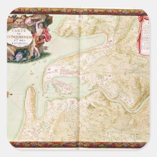 Karta av Concarneau Fyrkantigt Klistermärke