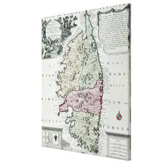 Karta av Corsica Canvastryck