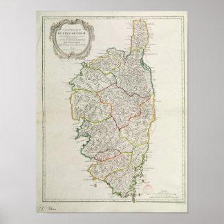 Karta av Corsica Poster