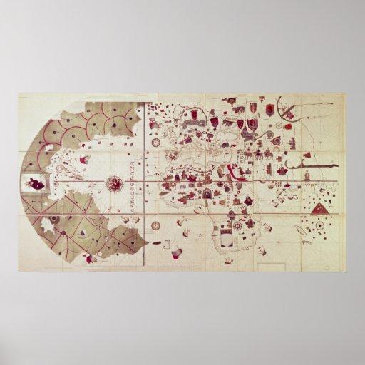 Karta av de gammala och nya världarna, c.1500 print