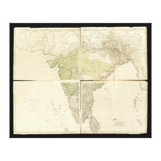 Karta av de östliga Indiesna med vägarna (1768) Canvastryck