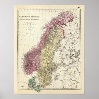 Karta av de skandinaviska kungarikena affischer