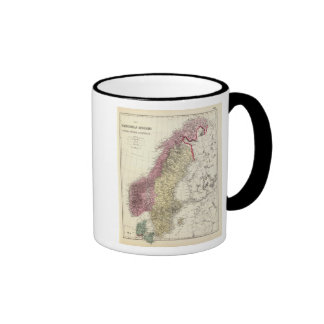 Karta av de skandinaviska kungarikena kaffe mugg