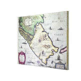 Karta av den Magellan svårighetar, Patagonia Canvastryck