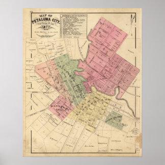 Karta av den Petaluma staden 1877 Poster