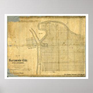 Karta av den Sacramento staden & väster Sacramento Poster