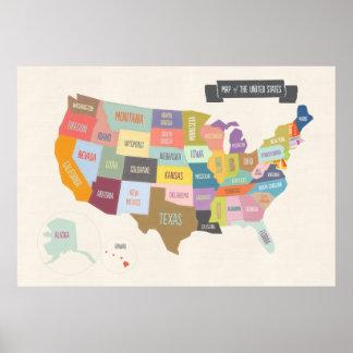 Karta av den USA XL affischen Poster