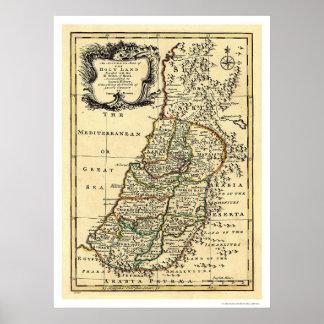Karta av det heliga landet av Israel av Bowen 1752 Poster