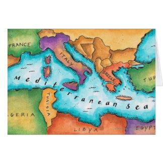 Karta av det medelhavs- havet hälsningskort