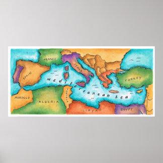 Karta av det medelhavs- havet poster
