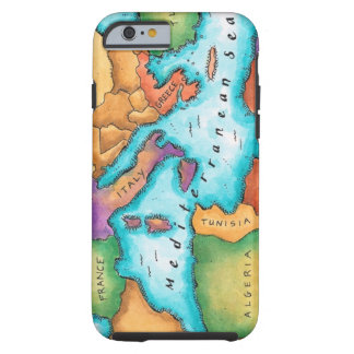 Karta av det medelhavs- havet tough iPhone 6 fodral