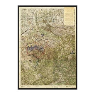 Karta av det Ruhr uppror Mars-April 1920 Canvastryck
