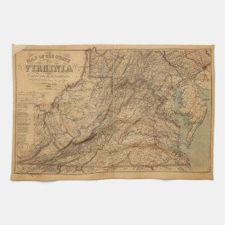 Karta av det statligt av Virginia (1865) Kökshandduk