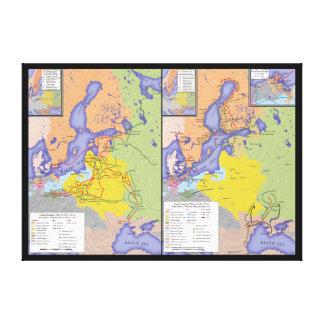 Karta av det underbara nordliga krig 1700-1721 canvastryck
