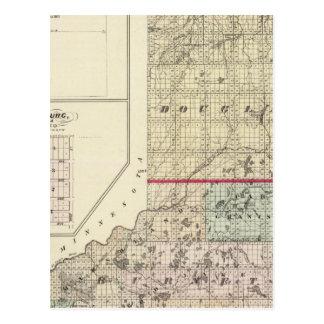 Karta av Douglas och Burnett län Vykort