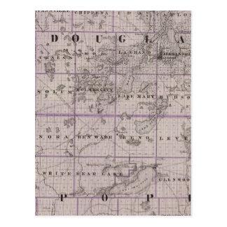 Karta av Douglas och Pope Län, Minnesota Vykort