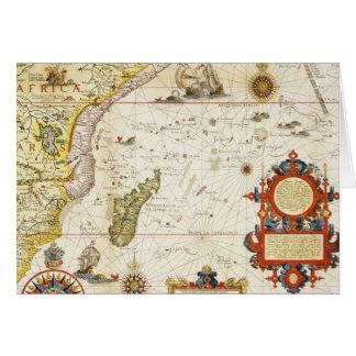 Karta av East Africa och Madagascar, 1596 (räcka Hälsningskort