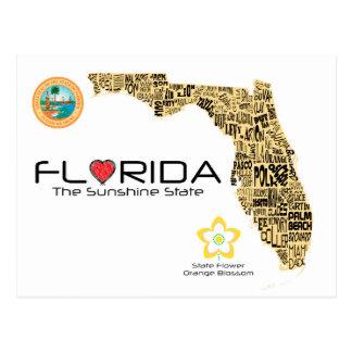 Karta av Florida med alla län som ut stavas Vykort