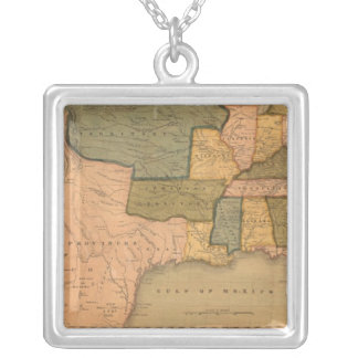 Karta av Förenta staterna med George Washington Silverpläterat Halsband