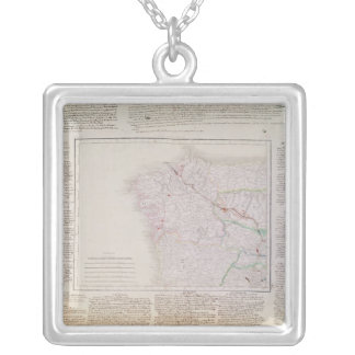 Karta av Galicia med rutten av den franska armén Silverpläterat Halsband