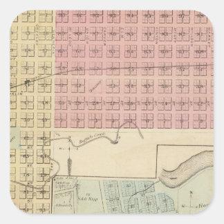 Karta av Glencoe, karta av Henderson, Minnesota Fyrkantigt Klistermärke