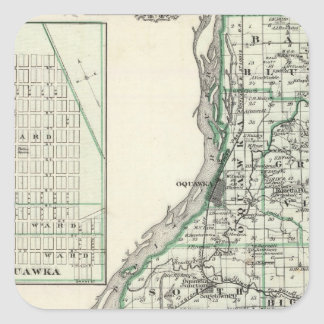 Karta av Henderson County och Oquawka Fyrkantigt Klistermärke