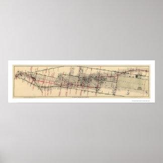 Karta av hotellen och theatresna i Manhattan 1906 Poster