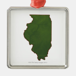 Karta av Illinois 2 Julgransprydnad Metall